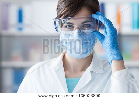 Doctor Wearing Protective Glasses