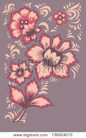 Card exotic flowers. Fabulous floral pattern. Russian folk art Khokhloma. Original wedding invitation. Ethnic background.