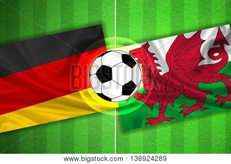green Soccer / Football field with stripes and flags of germany - wales and ball - 3d illustration