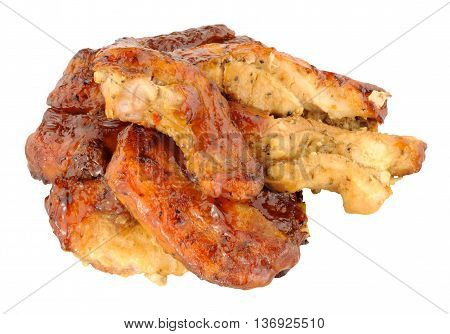 Slow cooked pork belly slices isolated on a white background