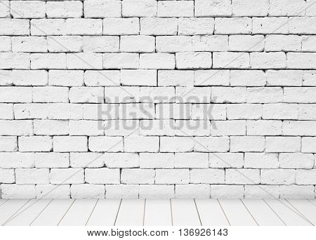 White stone blick wall and wood floor background.