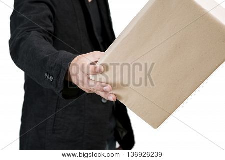 small parcel presented on a human hand Isolated on white background