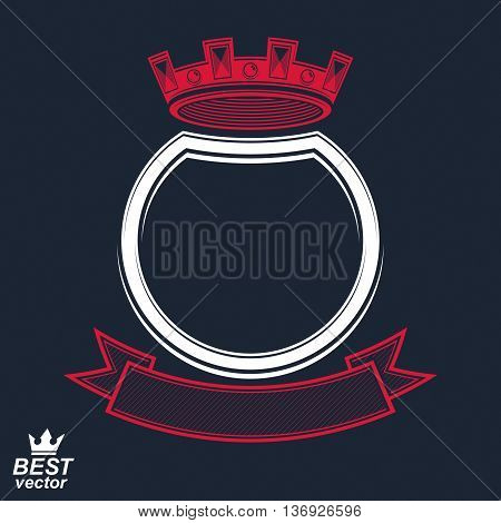 Vector ring with 3d imperial crown and festive ribbon luxury coat of arms. Heraldic symbol best for graphic and web design. Monarch theme