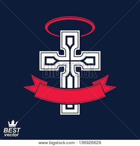 Religious cross emblem with nimbus and decorative ribbon spiritual idea symbol. Christianity icon web design element.