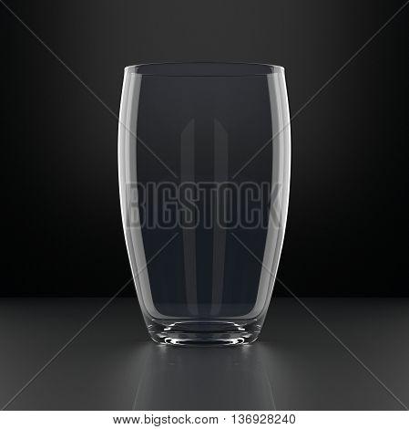 Full Water Glass on black background. Drinking glassware. 3D illustration.
