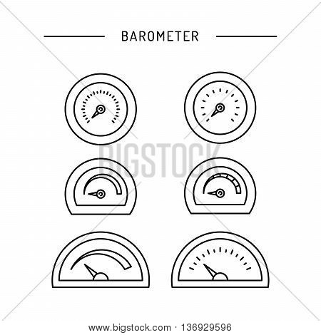 Image thermometer icons are drawn in a linear style a device for measuring temperature. Various types of electronic thermometers. infrared liquid measuring body temperature food environment.