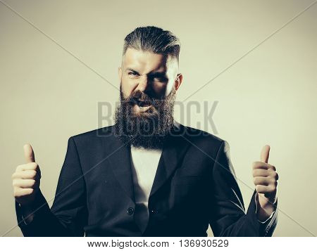 Bearded Handsome Man In Jacket