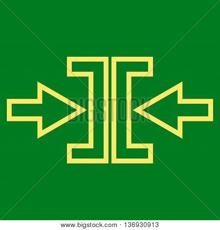 Pressure Arrows Horizontal vector icon. Style is outline icon symbol, yellow color, green background.