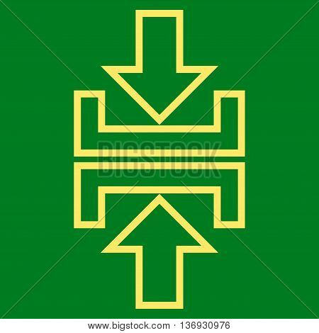 Pressure Arrows Vertical vector icon. Style is outline icon symbol, yellow color, green background.