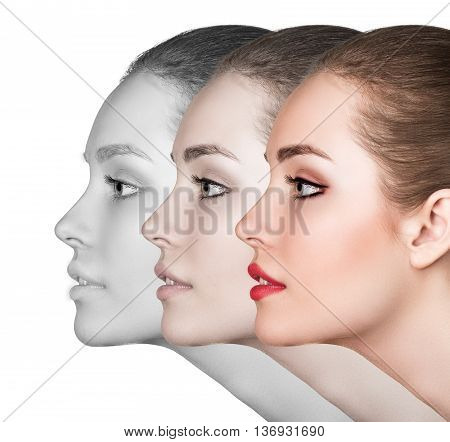 Beautiful woman with perfect skin showing stage of makeup isolated on white