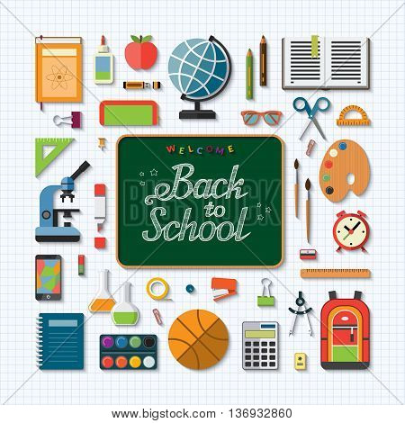School education flat concept background. Chalkboard with handwritten inscription: Welcome back to school. Set of school items, supplies- schoolbook, notebook, stationary, training aids, ball, bag etc