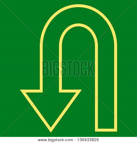 Return Arrow vector icon. Style is thin line icon symbol, yellow color, green background.