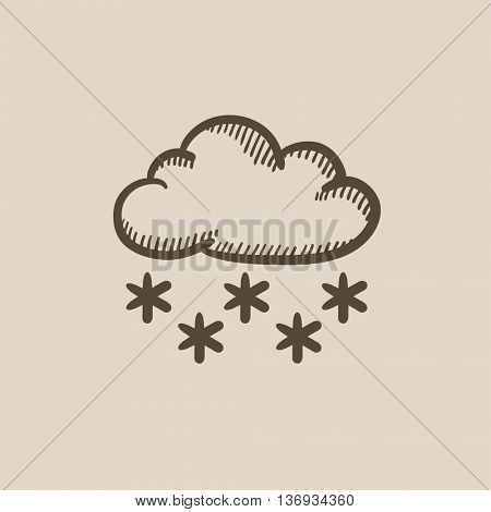 Cloud with snow vector sketch icon isolated on background. Hand drawn Cloud with snow icon. Cloud with snow sketch icon for infographic, website or app.