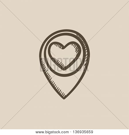 Map pointer with heart vector sketch icon isolated on background. Hand drawn Map pointer with heart icon. Map pointer with heart sketch icon for infographic, website or app.