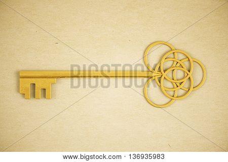 Ornate golden key on light background. 3D Rendering