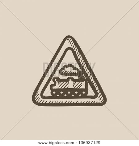 Train sign vector sketch icon isolated on background. Hand drawn Train sign icon. Train sign sketch icon for infographic, website or app.
