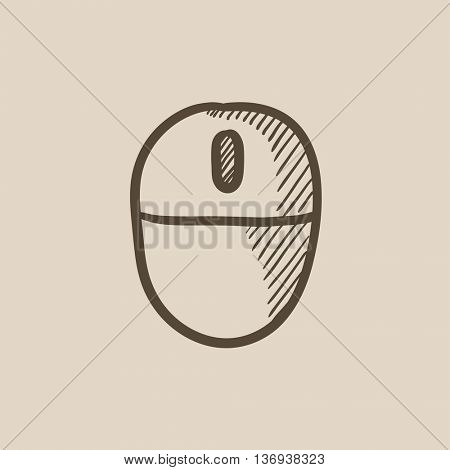 Computer mouse vector sketch icon isolated on background. Hand drawn Computer mouse icon. Computer mouse sketch icon for infographic, website or app.