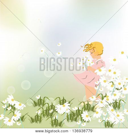 Little girl playing in a field of chamomile flowers. Vector beautiful sweet illustration for Children's Day