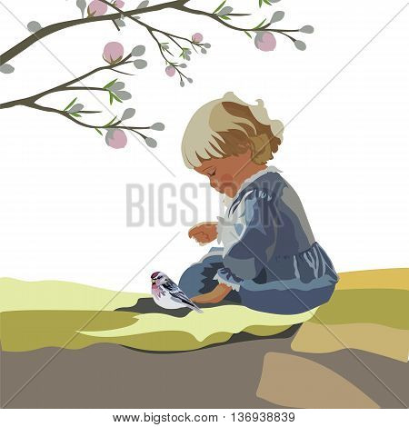 Little baby girl playing in a garden. Vector beautiful cute illustration for Children's Day