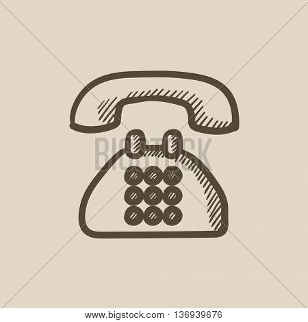 Telephone vector sketch icon isolated on background. Hand drawn Telephone icon. Telephone sketch icon for infographic, website or app.