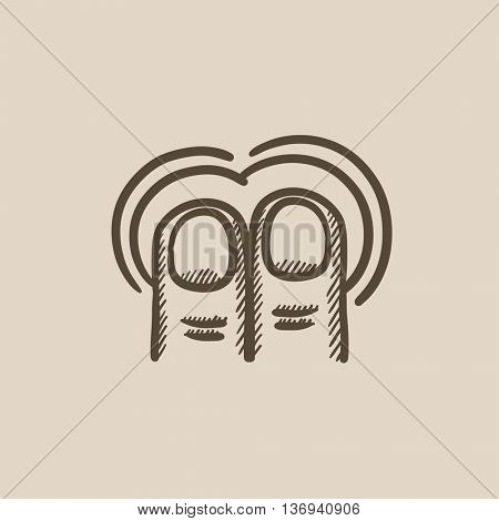 Double tap with two fingers touch screen gesture vector sketch icon isolated on background. Hand drawn touch screen gesture icon. Touch screen gesture sketch icon for infographic, website or app.