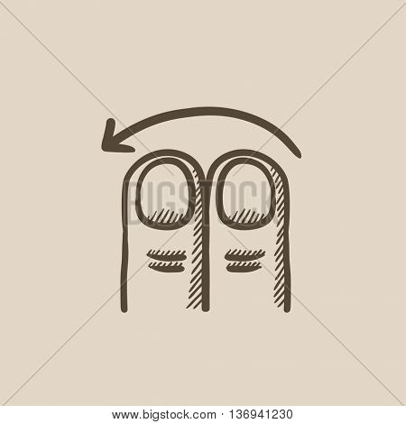 Swipe left with two fingers vector sketch icon isolated on background. Hand drawn touch screen gesture down icon. Touch screen gesture down sketch icon for infographic, website or app.