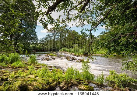 Weir near Weldon,a short walk from Weldon Bridge in Northumberland, through a riverside woodland, on the River Coquet