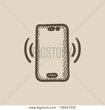 Vibrating phone vector sketch icon isolated on background. Hand drawn Vibrating phone icon. Vibrating phone sketch icon for infographic, website or app.