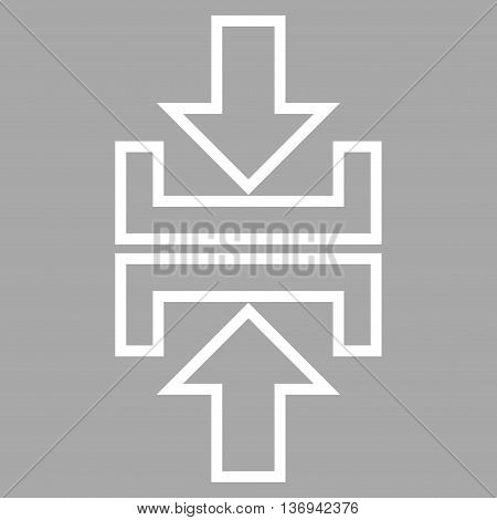 Pressure Arrows Vertical vector icon. Style is contour icon symbol, white color, silver background.