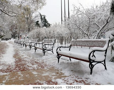 Benches with snow in Sofia city
