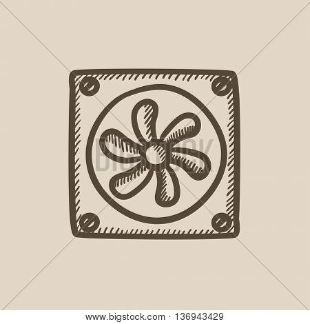 Computer cooler vector sketch icon isolated on background. Hand drawn Computer cooler icon. Computer cooler sketch icon for infographic, website or app.