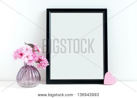 Pink Blossom styled stock photography with black frame for your own business message promotion headline or design great for blogging and social media, or to announce an event, celebration or wedding