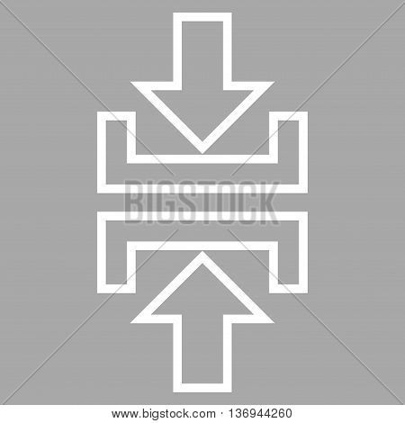 Pressure Vertical vector icon. Style is thin line icon symbol, white color, silver background.