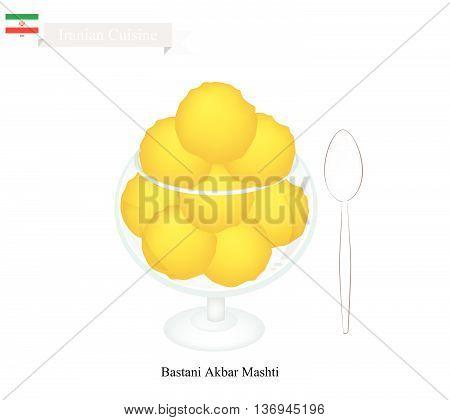 Iranian Cuisine Bastani Akbar Mashti or Traditional Ice Cream Made From Milk Eggs Sugar Rose Water and Saffron. One of The Most Popular Dessert in Iran..