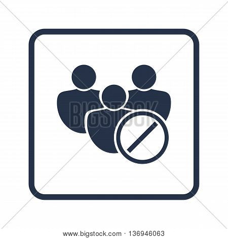 User Reject Icon In Vector Format. Premium Quality User Reject Symbol. Web Graphic User Reject Sign On Blue Round Background. poster