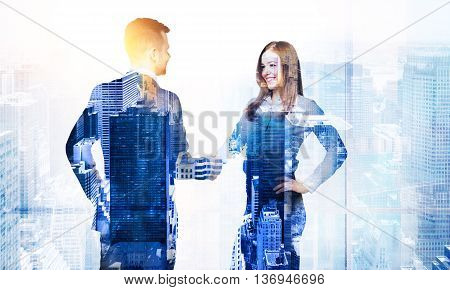 Side view of business man and woman shaking hands on New York city background with sunlight. Double exposure