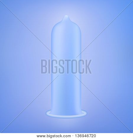 Latex condom over blue background. Realistic vector illustration. Condom without pack. Condom icon or sign isolated over blue background. Contraceptive method.