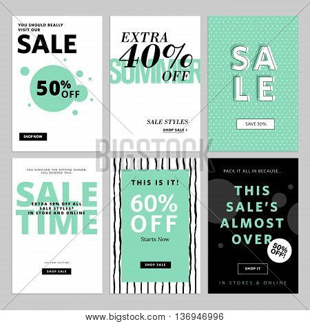 Set of website banners and emails for sale. Vector illustrations for website and mobile website banners, posters, email and newsletter designs, ads, promotional material.
