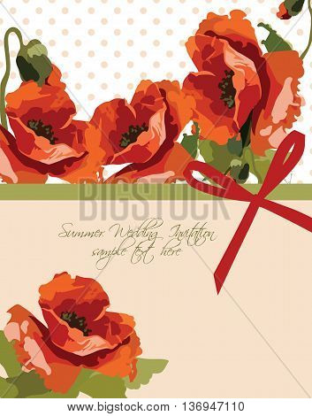 Watercolor poppy flowers Wedding or Greeting Card Vector. Invitation card Traditional Vintage Retro style