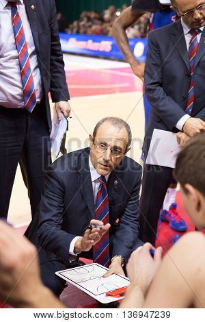 Bc Cska Head Coach Ettore Messina During A Timeout