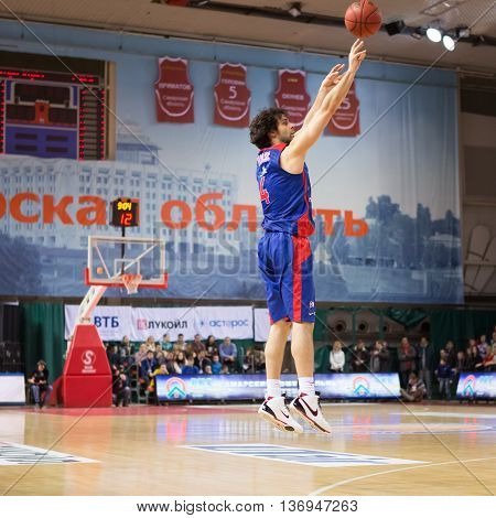 Bc Cska Guard Milos Teodosic (4) Makes 3-point Shot