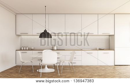 Kitchen interior with small dining table and chairs counter with stove and sink cabinets ceiling lamp wooden floor and concrete wall with daylight. 3D Rendering