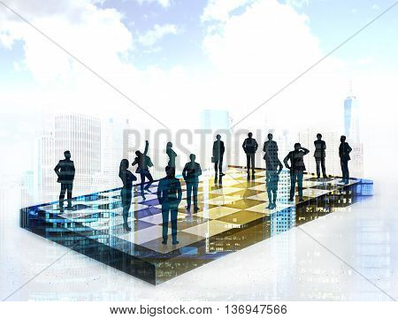 Chessboard with businesspeople on New York city background. Concept of strategic planning and teamwork. Double exposure