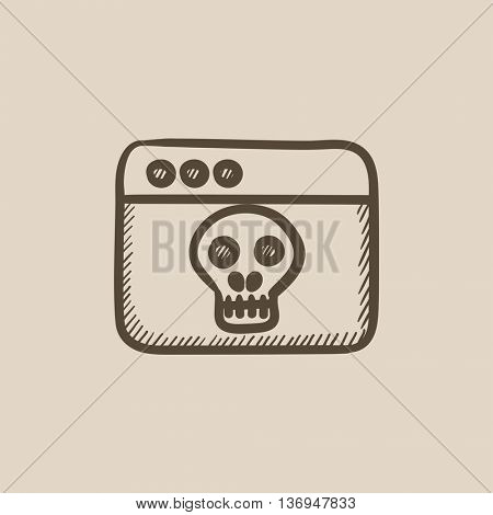 Browser window with skull vector sketch icon isolated on background. Hand drawn Browser window with skull icon. Browser window with skull sketch icon for infographic, website or app.