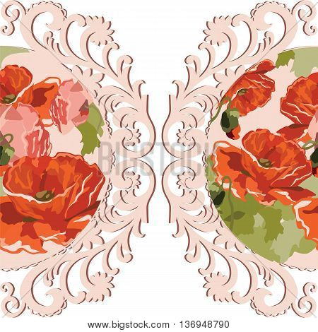 Vintage Watercolor poppy flowers Card with round lace. Vector Retro delicate card crochet lace