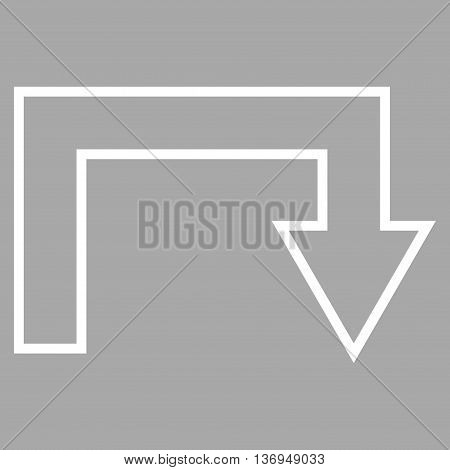 Turn Back vector icon. Style is outline icon symbol, white color, silver background.