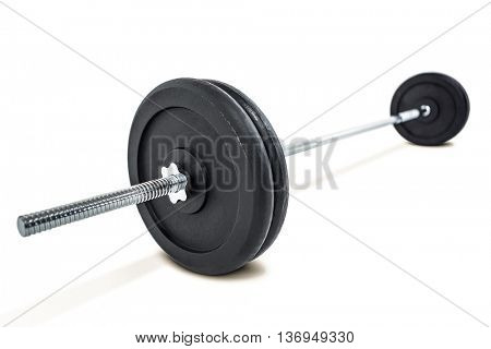 Barbell weights isolated on white background