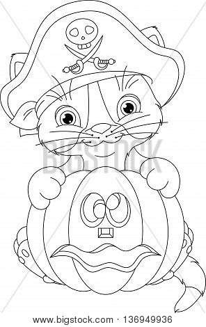 Kitten in a pirate costume holding a pumpkin, EPS 10, Coloring Page