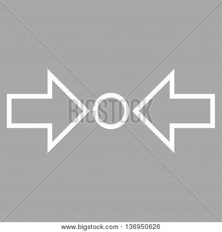 Pressure Horizontal vector icon. Style is contour icon symbol, white color, silver background.