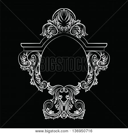 Baroque Rococo Exquisite Mirror frame decor. Vector French Luxury rich carved ornaments and Wall Frames. Victorian Royal Style frame